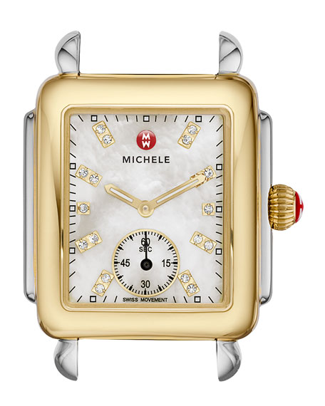 MICHELE 16mm Deco Two-Tone, Diamond Dial Watch Head