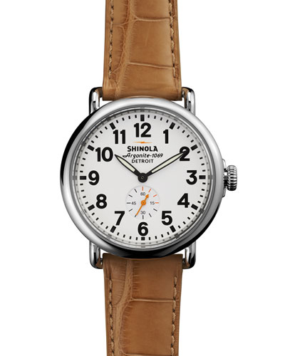 The Runwell Stainless Watch with Beige Leather Strap, 41mm