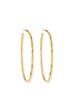 NEST Jewelry Thin Hammered 22k Gold-Plated Hoop Earrings