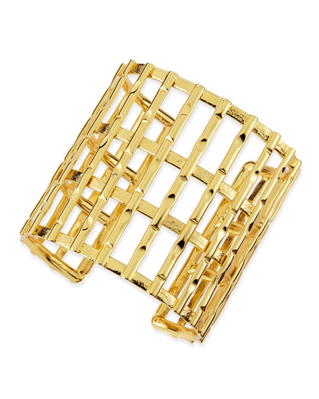 Gold Plated Bamboo Lattice Cuff