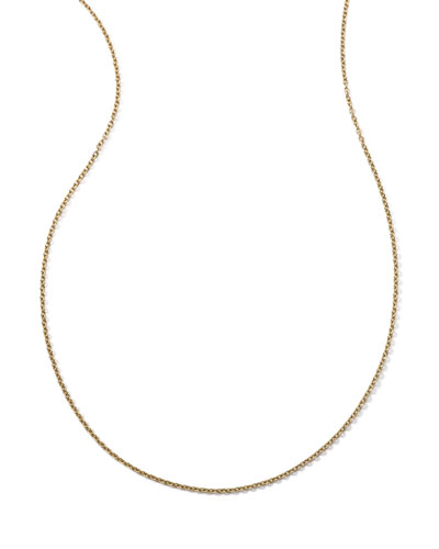 18k Yellow Gold Thin Charm Chain Necklace, 16-18