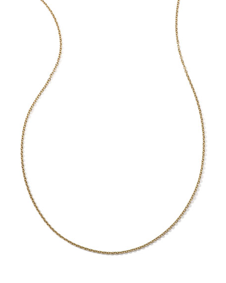 18k Yellow Gold Thin Charm Chain Necklace, 16-18""