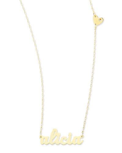 Jennifer Zeuner Abigail-Style Personalized Name Necklace with Diamond Heart