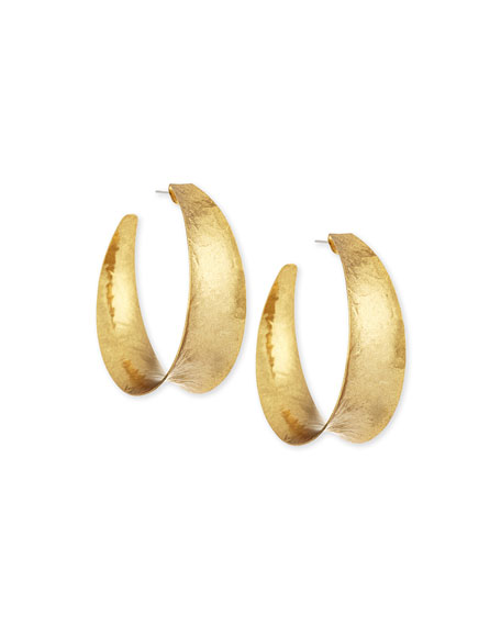 Hammered Brass Graduated Hoop Earrings