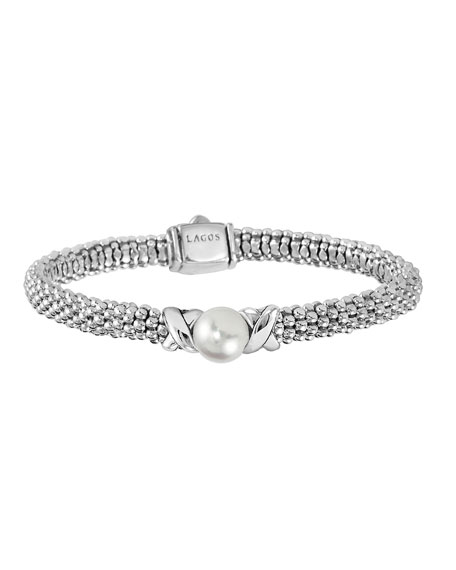 Sterling Silver Luna Caviar Bracelet With Cultured Freshwater Pearl in Silver/ Pearl