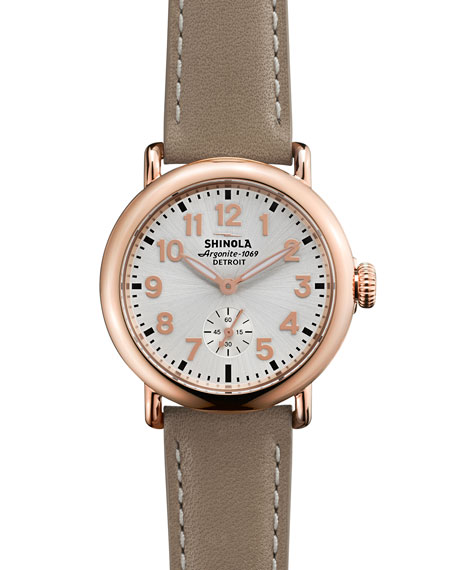 Shinola The Runwell Rose Golden Watch with Tan