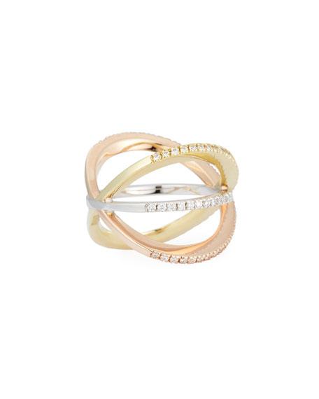 18K White Gold Diamond Double-Crisscross Ring