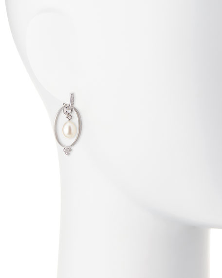 White Gold Provence Oval Earring Charm Frames