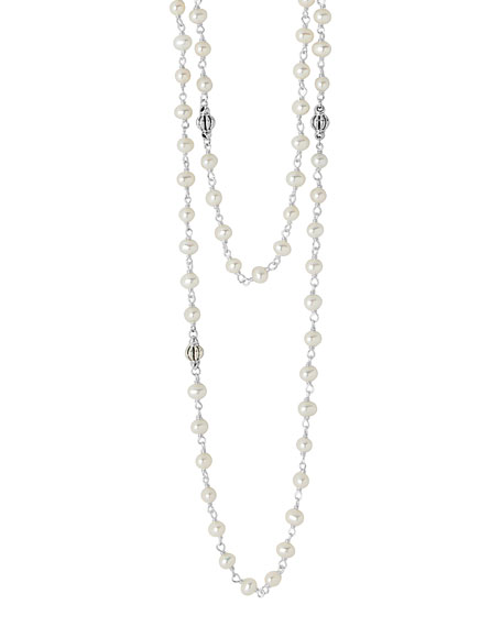 """Luna Pearl Necklace with Sterling Silver, 36"""""""