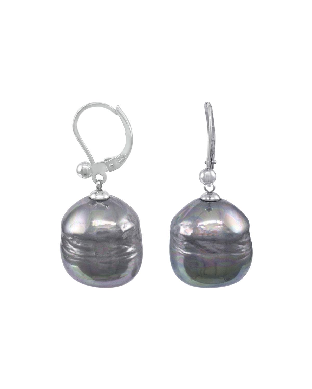 Baroque Pearl Drop Earrings Gray