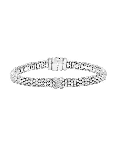 Silver Caviar Diamond X Bracelet, 6 mm