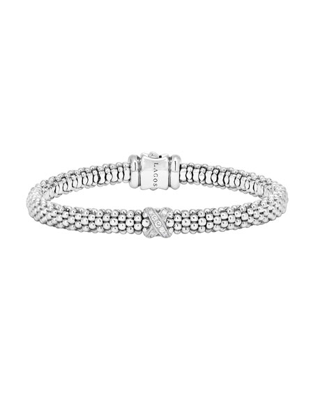Lagos Silver Caviar Diamond X Bracelet with 18k