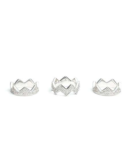 Pave Bear-Trap Stackable Ring Set