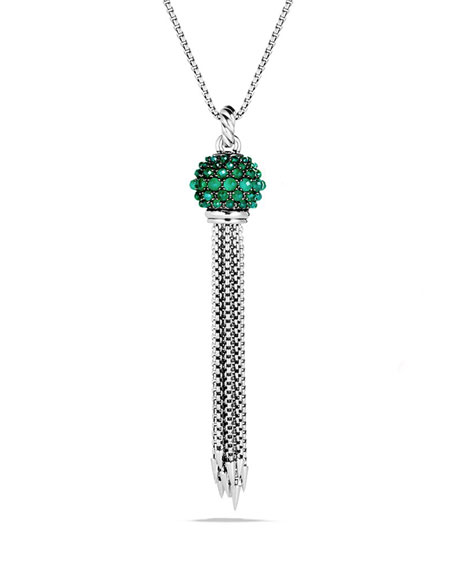 Osetra Large Tassel Necklace with Green Onyx