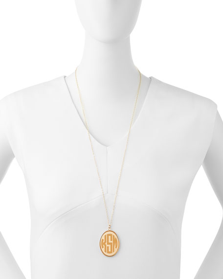 Moon and Lola Vineyard Extra Large Acrylic Block Monogram Pendant Necklace