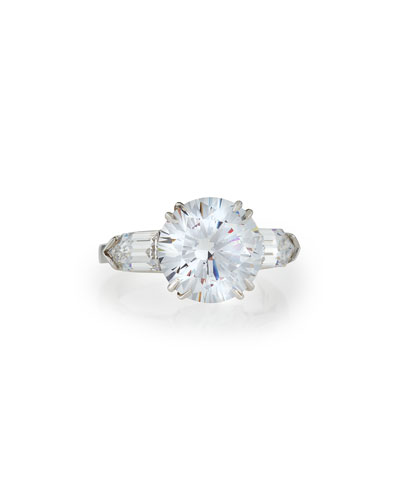 Solitaire Cubic Zirconia Ring with Bullets, 6 TCW