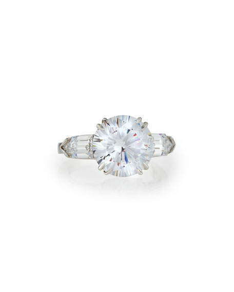 Fantasia Solitaire Cubic Zirconia Ring with Bullets, 6 TCW