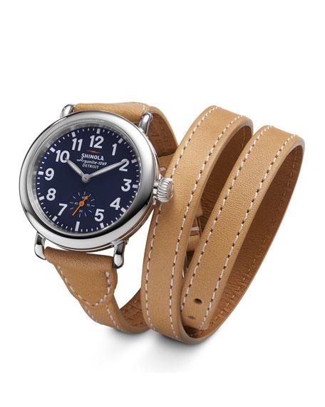 Shinola Runwell Leather Triple-Wrap Watch, 36mm