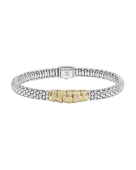 Lagos Embrace Silver & 18k Diamond Caviar Bracelet