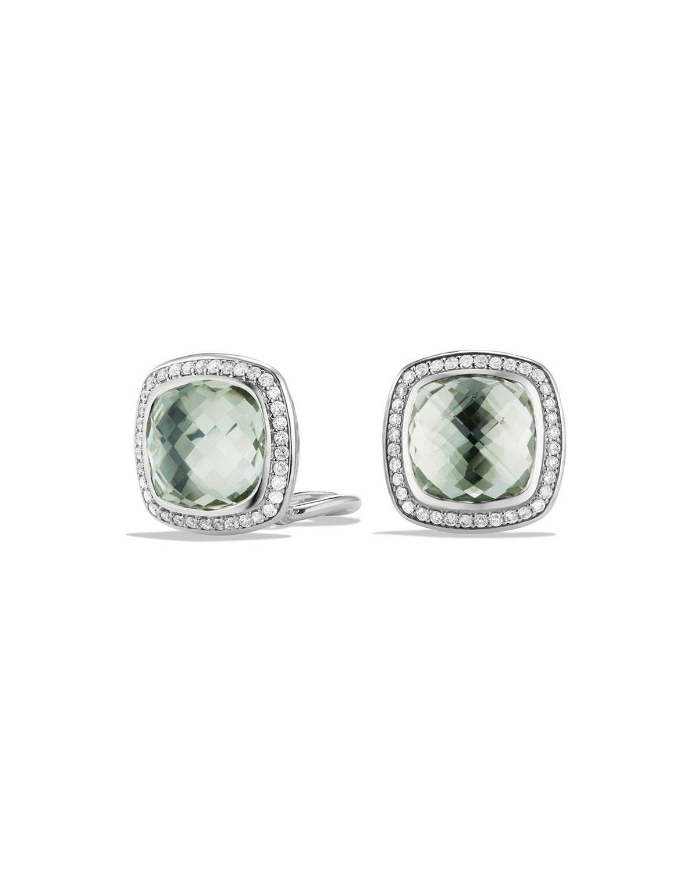 11mm Albion Prasiolite Stud Earrings With Diamonds