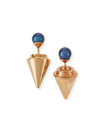 Double-Sided Pearl Titan Earrings