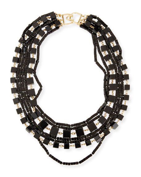 Kenneth Jay Lane Multi-Strand Beaded Cube Necklace, Black