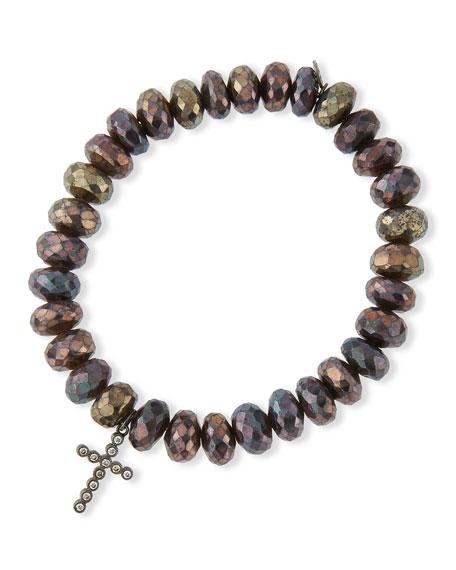 Sydney Evan8mm Faceted Brown Rondelle Pyrite Bead Bracelet