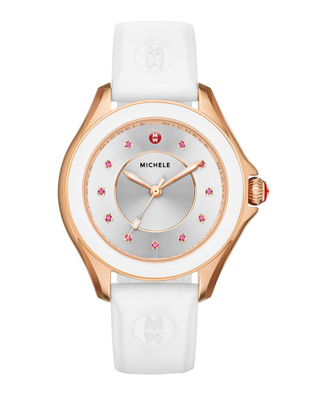 Cape White Silicone Strap Watch with Pink Topaz Dial Markers, Rose Golden