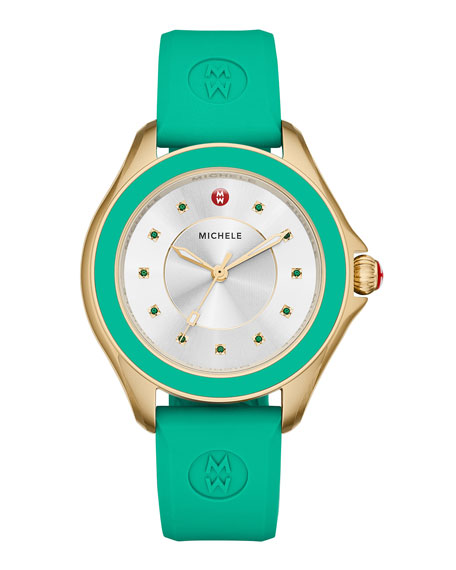 MICHELE Cape Green Topaz Watch with Silicone Strap,