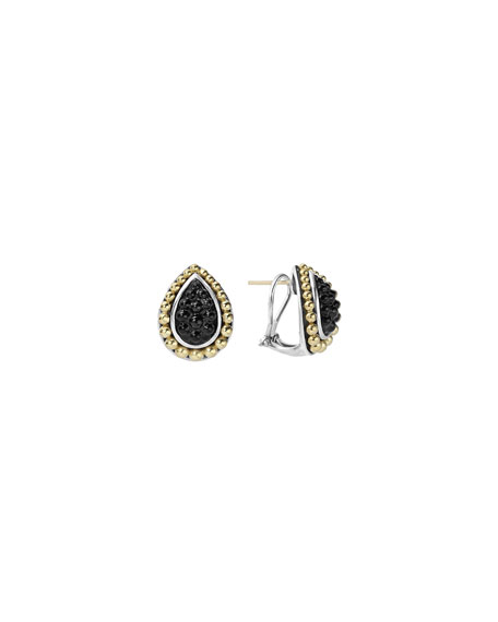 Lagos Black Onyx Caviar Pear-Shaped Earrings
