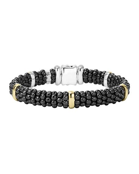 Lagos Black Caviar Rope Bracelet with Gold, 9mm