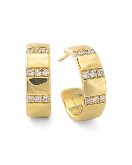 Ippolita 18k Glamazon Stardust 3-Band Hoop Earrings with Diamonds