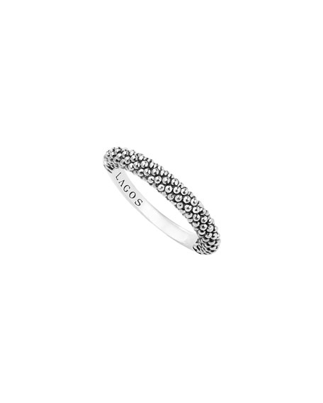 Sterling Silver Caviar Beaded Stacking Ring