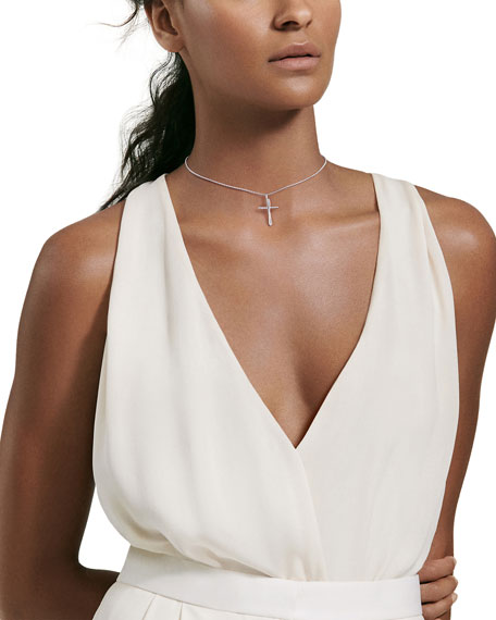 David Yurman Cross Crossover Diamond Pendant Necklace