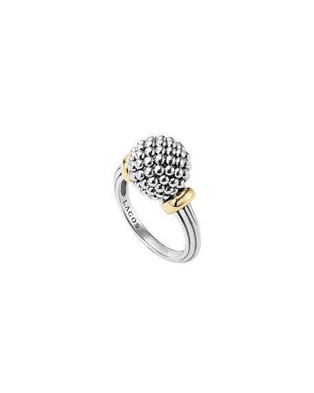 STERLING SILVER CAVIAR BEADED RING WITH 18K GOLD