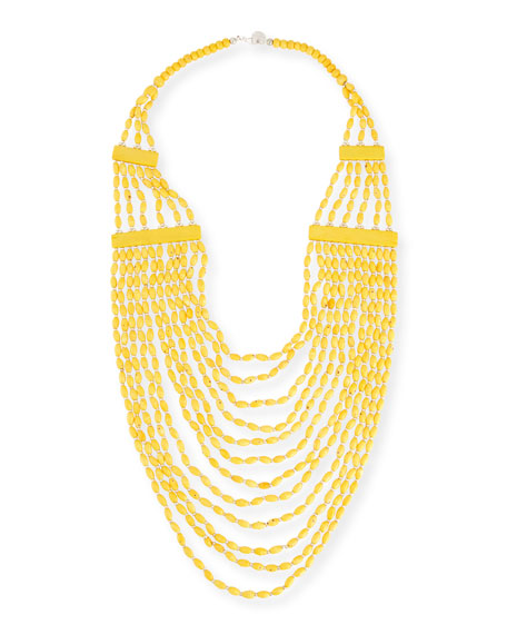 Devon Leigh Beaded Multi-Strand Long Necklace, Yellow