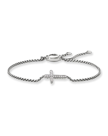 Image 1 of 4: David Yurman Petite Pave Diamond Cross Bracelet