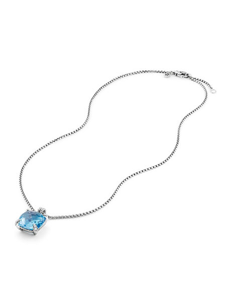 14mm Châtelaine Hampton Blue Topaz Pendant Necklace