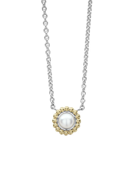 6mm 18K Gold Luna Pearl Pendant Necklace