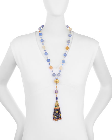 Mixed Stone Tassel Pendant Necklace