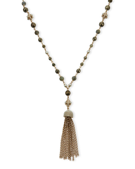 Glass Pearl Tassel Necklace, Gray