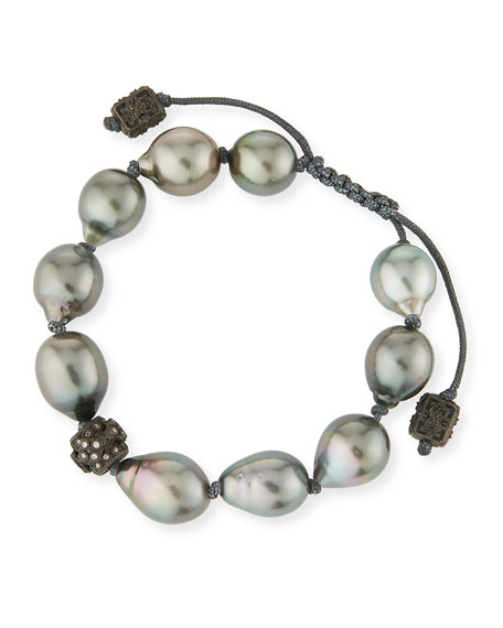Old World Midnight Tahitian South Sea Pearl And Champagne Diamond Beaded Cord Bracelet in Gold