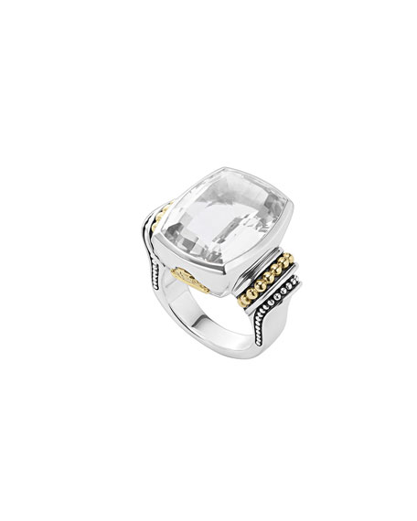 Lagos 20mmm Caviar Color White Topaz Ring, Size