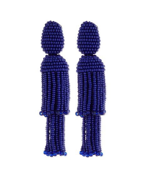 Oscar de la RentaTwo-Tiered Beaded Tassel Clip-On Earrings