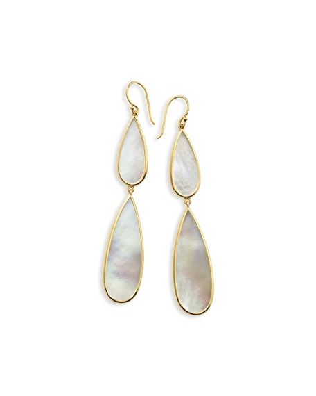 18K Yellow Gold Polished Rock Candy Mother-Of-Pearl Double Teardrop Drop Earrings in White