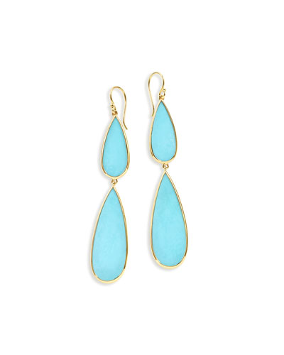 18K Rock Candy Double-Drop Turquoise Earrings