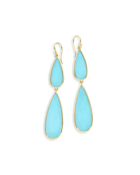 18K Polished Rock Candy Double-Drop Earrings
