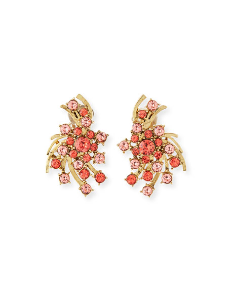 Oscar de la Renta Persimmon Crystal Button Earrings