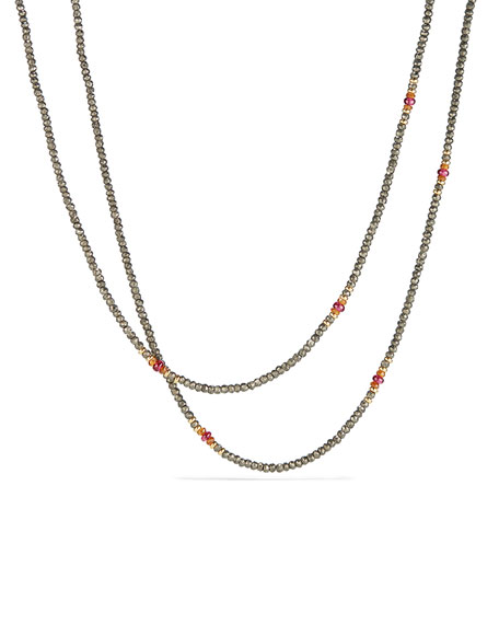 David Yurman Osetra Tweejoux Pyrite & Garnet Necklace,