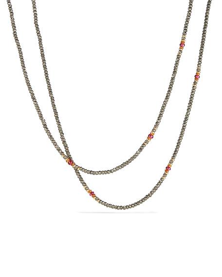 "Osetra Tweejoux Pyrite & Garnet Necklace, 32"""